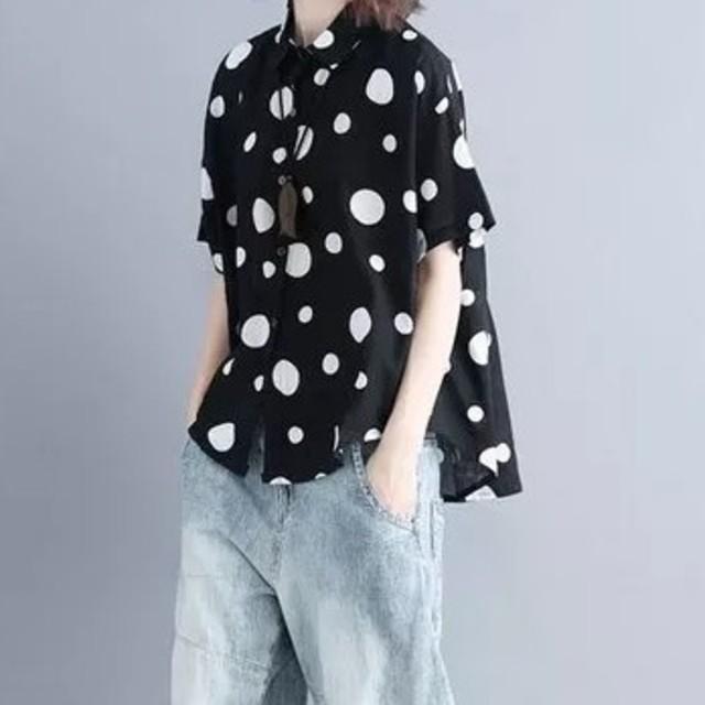 ZARA(ザラ)のドットシャツ ブラウス レディースのトップス(シャツ/ブラウス(半袖/袖なし))の商品写真