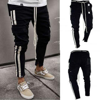 【人気爆発】ラインパンツ カーゴ パンツ ブラック メンズ ジョガーパンツ XL(ワークパンツ/カーゴパンツ)