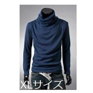 【ネイビー/XL】 アフガンタートルネック(Tシャツ/カットソー(七分/長袖))