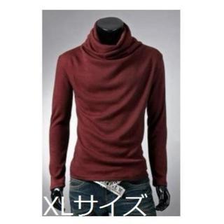 【ワインレッド/XL】 アフガンタートルネック(Tシャツ/カットソー(七分/長袖))