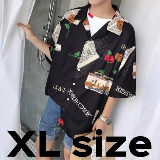 メンズ シャツ オルチャン ストリート 原宿 ブラック XLサイズ(シャツ)