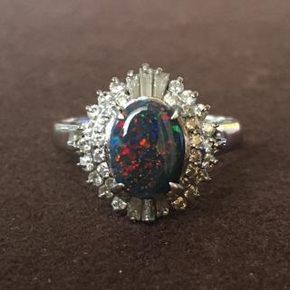 Pt900  ブラックオパール ダイヤモンド リング