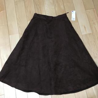 ジーユー(GU)のジーユー スエード タッチ フレアミディスカート  新品(ロングスカート)