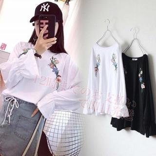 【即日発送】 ホワイト ラグランスリーブ 花柄 刺繍 ロングTシャツ ボタニカル(Tシャツ(長袖/七分))