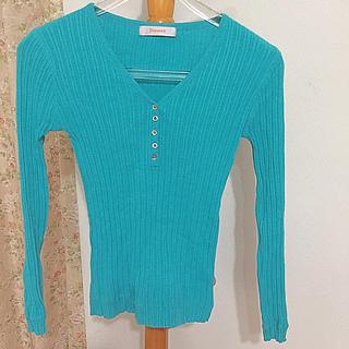 春物セーター♡春色ニット♡エメラルドグリーン♡緑♡青♡細身♡Mサイズ♡green(ニット/セーター)