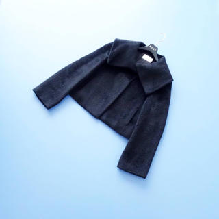 エムプルミエ(M-premier)の■エムプルミエブラック■ 34 女優襟 アルパカシャギー 黒 ショートコート(ピーコート)