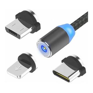 【1m】マグネット充電ケーブル 1本3役 / 磁石 着脱式 急速充電