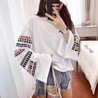【即日発送】 ホワイト 大きいサイズ モザイク プリント Tシャツ 原宿 韓国(カットソー(長袖/七分))