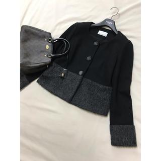 エムプルミエ(M-premier)の美品 エムプルミエ  ブラック ファー コート 黒 ノーカラー バイカラー(その他)