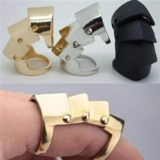 1個 ゴールド アーマーリング 指輪 アクセサリー 関節 メタルリング(リング(指輪))