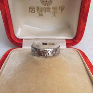 Pm850 菊の彫りのプラチナヴィンテージリング(リング(指輪))