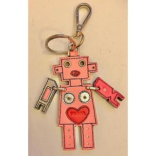 プラダ(PRADA)のプラダ ロボット バッグ チャーム キーホルダー レザー 財布 ピンク(キーホルダー)