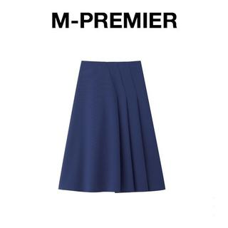 エムプルミエ(M-premier)の-38-新品m-i-d M-PREMIER ワンサイドタックスカート-青(ひざ丈スカート)