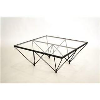 売り切れ日本製 モダン ガラステーブル 【クリアガラス×ブラック】 幅80cm (ローテーブル)