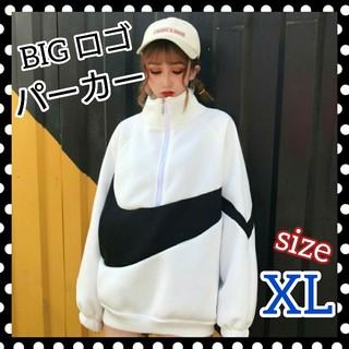 パーカー  ハイネック ビッグ ロゴ 韓国 オルチャン ホワイト XL SALE(トレーナー/スウェット)