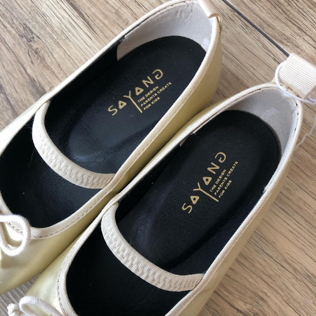 Bonpoint(ボンポワン)のかおきち様 新品未使用 SAYANG バレエシューズ ゴールド 17cm キッズ/ベビー/マタニティのキッズ靴/シューズ(15cm~)(フォーマルシューズ)の商品写真