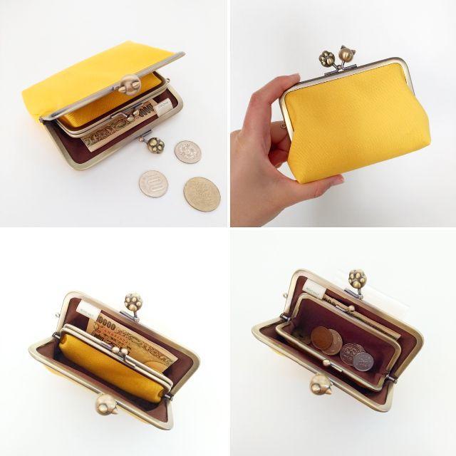 ねこ財布 親子がま口のお財布(ネーブルイエロー×ネコ玉肉球) ハンドメイドのファッション小物(財布)の商品写真