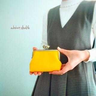 ねこ財布 親子がま口のお財布(ネーブルイエロー×ネコ玉肉球)(財布)