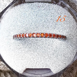キラキラハーフエタニティプラチナplatedAAACZオレンジダイヤ  (リング(指輪))