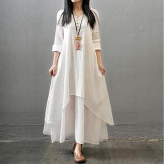 【ホワイト XL Size】ワンピースロング丈 自然素材(ロングワンピース/マキシワンピース)