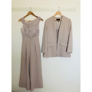 ラグナムーン(LagunaMoon)のLADYエアリートップスパンツドレス+LADYノーカラーロングジャケット(その他ドレス)