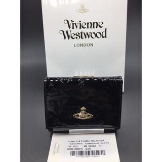 Vivienne Westwood - ヴィヴィアンウエストウッド がま口 折り財布 黒 エナメル質 ブラック