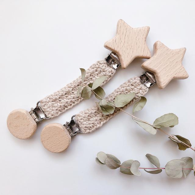 お星様のブランケットクリップ かぎ針編み ハンドメイドのキッズ/ベビー(外出用品)の商品写真