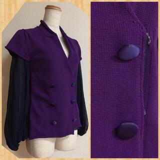 サカイ(sacai)の美品♪ 日本製/ sacai 切替 シルク袖 スナップボタン ニットジャケット(テーラードジャケット)