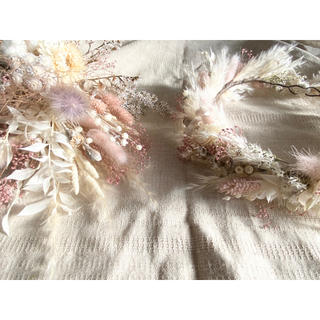 記念日を彩るドライフラワーのミニブーケ 花冠 pink beige ver.(ドライフラワー)