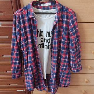 ラブトキシック(lovetoxic)のコーデ売り ロゴTシャツ チェックシャツ  セット(Tシャツ/カットソー)