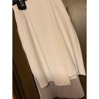 ステュディオス(STUDIOUS)のダブルクロスプリーツスカート アイボリー サイズ1(ひざ丈スカート)