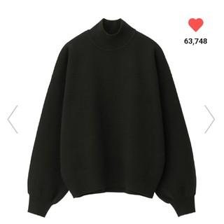 GU - ジーユー GU スウェットライクハイネックセーター(長袖)Q ブラック 黒 L