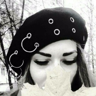 リング ピアス ベレー帽 ブラック