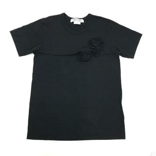 コムデギャルソン(COMME des GARCONS)のコムコム コムデギャルソン フラワー 装飾 半袖 Tシャツ ブラック S(Tシャツ/カットソー(半袖/袖なし))