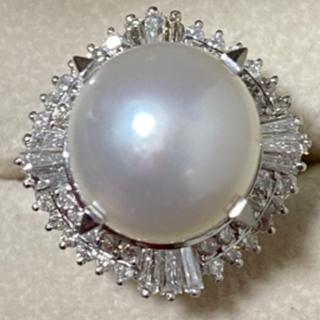 白蝶パール ダイヤモンドリング pt900  南洋真珠(リング(指輪))