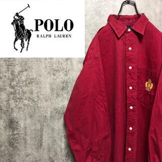 POLO RALPH LAUREN - 【激レア】ポロラルフローレン☆エンブレムワンポイント刺繍ロゴシャツ 90s