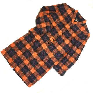 vintage ツイード セットアップ スーツ チェック柄 オレンジ(スーツ)