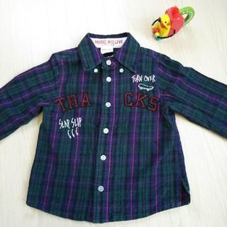エーアーベー(eaB)のSLAP SLIP 男の子 チェックシャツ カーキ×赤 100㎝(Tシャツ/カットソー)