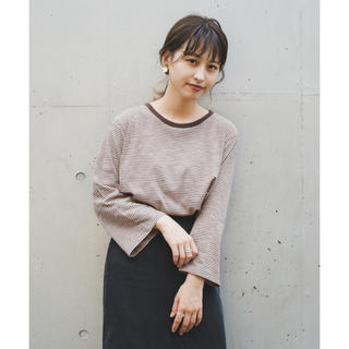 Kastane - 【Kastane 】リンガーボーダー7分袖プルオーバー モカ