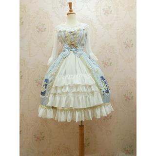 ロリータ シャンパン ドレス JSK レトロ ウサギ柄キュート お姫様 かわいい(ひざ丈ワンピース)