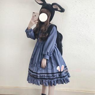 ワンピース 長袖 ロリータ 春秋 少女風 可愛い ゆめかわいい クマ柄 レトロ
