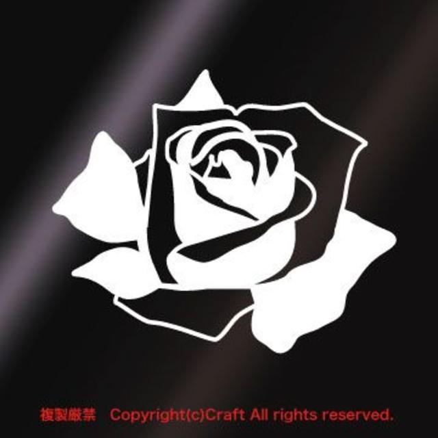 バラ/ステッカー(白)屋外耐候素材/9cm薔薇ROSE 自動車/バイクの自動車(車外アクセサリ)の商品写真