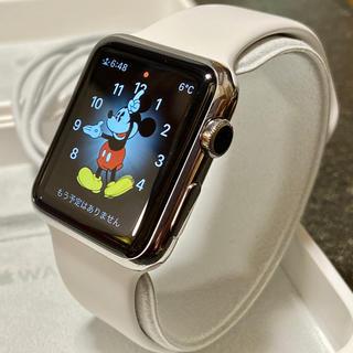 Apple Watch - Apple Watch 初代 42mm ステンレス 純正ホワイトスポーツバンド