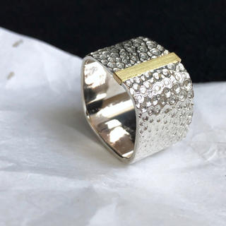 SV925 K18YG rounded square ring W(リング(指輪))