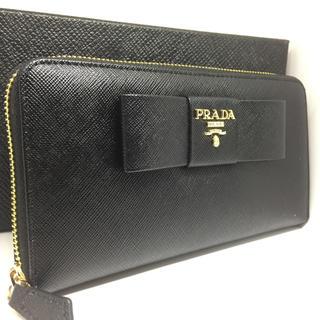 プラダ(PRADA)のPRADA プラダ長財布  リボン 黒(財布)