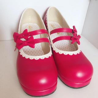 ボディライン(BODYLINE)のBODYLINE ロリータ パンプス シューズ リボン 靴 レッド 赤(ハイヒール/パンプス)