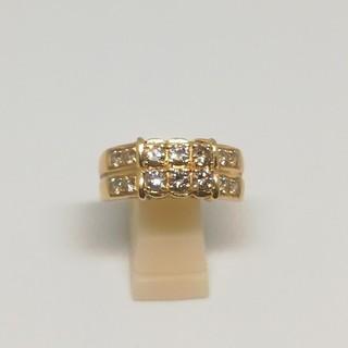 豪華 K18 1ct ダイヤモンド リング 15号 2連(リング(指輪))