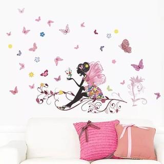 ☆ラスト1点✥インテリアウォールテッカー☆❀フラワーアート❀妖精と蝶の花びら❦❀