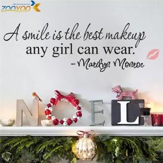 ❥新品超特価❥格言ウォールステッカー❅マリリン・モンロー♥✧笑顔は最高のメイク✧