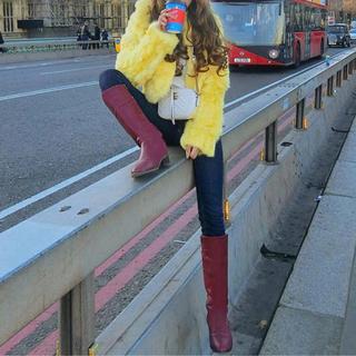 ラビットファー ファーコート 黄色